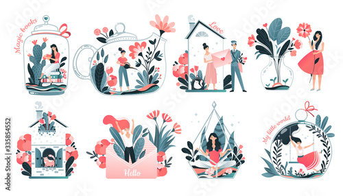 Obraz Girls inner world concept, introvert personality comfort, cozy home and imagination set, vector illustration. Tiny woman cartoon character in glass jar teapot surrounded by flowers. Inner world symbol - fototapety do salonu