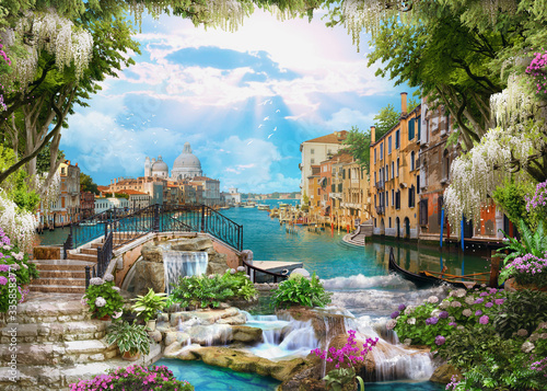 Do łazienki   beautiful-collage-with-access-to-the-sea-the-ancient-houses-of-venice-flowers-and-waterfalls-digital-collage-mural-and-fresco-wallpaper-poster-design-modular-panno