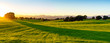 sunset over green field with sunlight, green grass, bush, trees, shadows and mountains in background