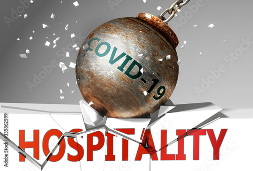 Vászonkép Hospitality and coronavirus, symbolized by the virus destroying word Hospitality