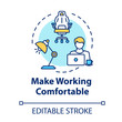 Make working comfortable concept icon. Workplace at home. Freelancer workspace. Desk for laptop. Quarantine idea thin line illustration. Vector isolated outline RGB color drawing. Editable stroke