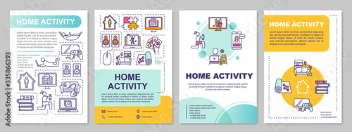 Fototapeta Home activity brochure template. Online education, games and fitness. Flyer, booklet, leaflet print, cover design with linear icons. Vector layouts for magazines, annual reports, advertising posters obraz