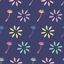Colourful Dandelion And Flower Vector Repeat. Perfect For Wallpaper, Kids, Scrapbooking, Stationary And Homeware.