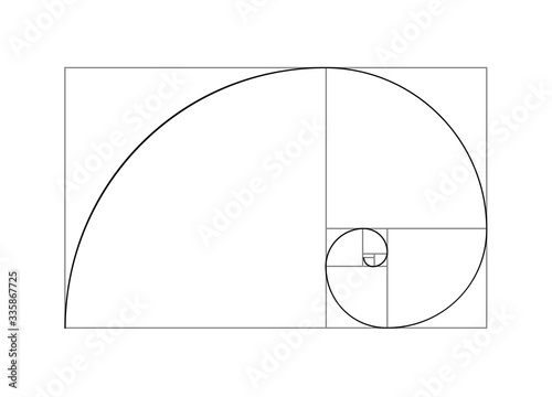 Golden ratio vector proportion spiral section Fotobehang