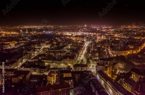 Fototapeta Krakow old city aerial evening time obraz na płótnie