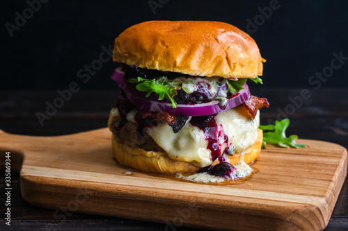 Red, White, and Blueberry Bacon Burger with Basil Aioli: Bacon cheeseburger topp Canvas Print