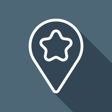 Pin Map With Star, Outline Lin...