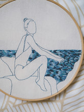Embroidery Frame Girl Sea Waves