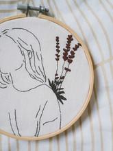 Embroidery Frame Girl Flower Hair