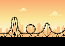 Vector Roller Coaster Ride Silhouette Park. Rollercoaster Icon Illustration Skyline Concept