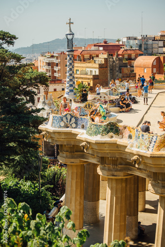 Caves and colonnades in Parc Guell Barcelona Fototapete