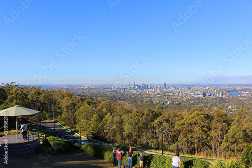 View at Brisbane from viewing platform at Mount Coot-tha (Queensland, Australia)
