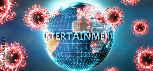 Entertainment and covid virus, symbolized by viruses and word Entertainment to s Fototapet
