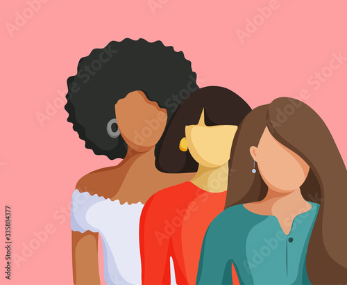 Fototapeta Three women of different nationalities. Friendship, union of feminists or sisterhood.  obraz