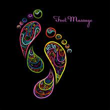 Foot Massage, Sketch Of Footpr...