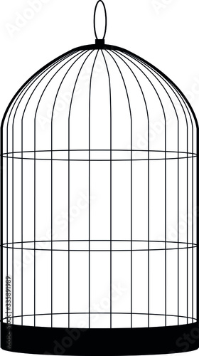 birdcage isolated on white Wallpaper Mural