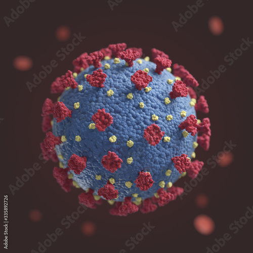 Fototapety, obrazy: a representation of the coronavirus COVID-19 seen under the miscroscope in a blood sample, isolated in deatil from the background by the depth of field.