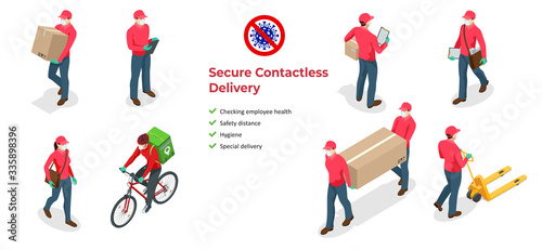 Fototapeta Isometric icons of delivery man and woman or courier in a medical mask and gloves delivering food to customer at home. Online purchases during a quarantine. Contactless or to the door delivery. obraz na płótnie