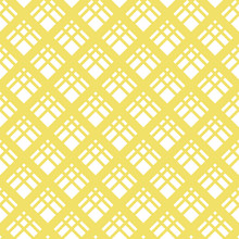 Square Grid Vector Seamless Pattern. Abstract Yellow And White Geometric Texture With Diagonal Cross Lines, Rhombuses, Mesh, Lattice, Grill. Simple Checkered Background. Repeat Design For Decor, Cloth
