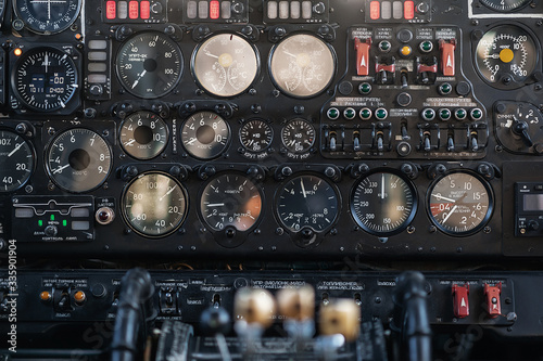 Obraz na plátně Parts of the cargo plane AN-26. Control panel in the cockpit