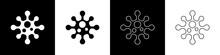 Set Virus Icon Isolated On Bla...