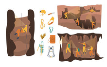 Cave Speleology Vector Illustration. Cartoon Flat Active Speleologist Character In Adventure, Group People Climbing, Spelunker Abseiling With Clip Equipment. Exploring Cave Set Isolated On White