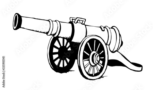 Photo Ancient iron cannon. Vector drawing