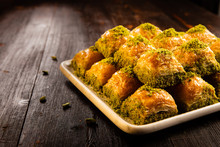 Turkish Traditional Dessert Baklava With Pistachio And Walnut Close Up