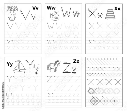 Photo Set of black and white educational pages on line for kids