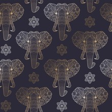 Seamless Pattern With Gold Ele...