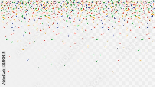 Fotografía Colorful falling confetti for a party decoration on a transparent background