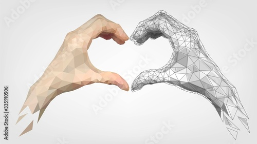 Obraz Human and robot low poly hands folded heart made of fingers, gesture of friendship and love of people and machines - fototapety do salonu