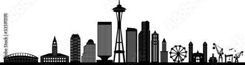 Fototapety, obrazy: SEATTLE City Skyline Silhouette Cityscape Vector