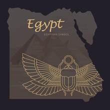 Vector Map Of Egypt With A Background Illustration Of The Pyramids And The Image Of A Scarab Beetle With The Sun In Its Paws.