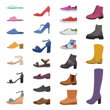 Shoes And Boots. Various Types...