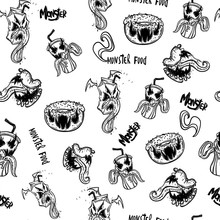 Funny Monsters Seamless Pattern For Coloring Book. Food Monsters. Vector Illustration