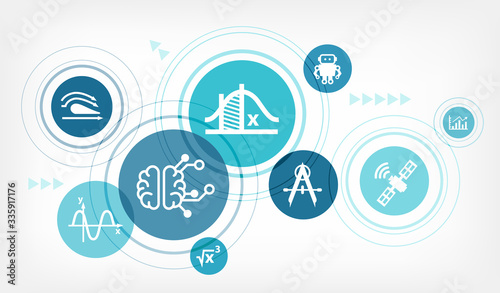 Fototapeta Applied mathematics / physics & engineering vector illustration. Abstract concept with connected icons related to STEM subjects, science education and scientific formulas. obraz