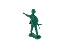 Green Toy Soldiers On White Background. Soldier One On Six Models. (1/6) Picture Twelve On Sixteen Viewing Angles. (12/16)