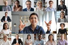 Webcam Laptop Screen View Many Faces Of Diverse People Involved In Group Videoconference On-line Meeting Lead By Indian Businesswoman Leader, Team Using Video Call App Work Solve Common Issues Concept