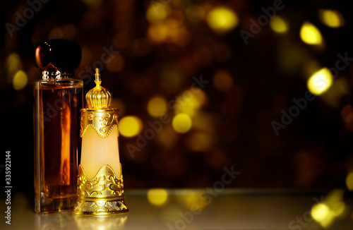 Fototapeta glass perfume bottle dark background  obraz