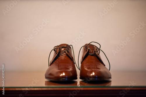 Fototapeta Pair of men's wedding shoes