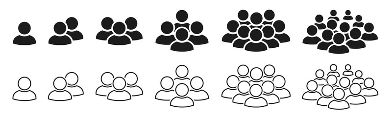 People icon set in trendy flat style. Persons symbol infographics website design, logo, app, UI isolated – for stock