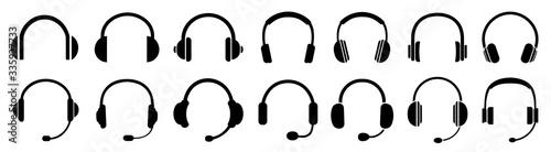 Fototapeta Headphones icons set, music sign – stock vector