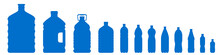 Set Of Plastic Bottle Icons Isolated On White Background. Plastic Bottles Of Various Sizes. Contours Of Bottles For Water, Lemonade – Vector