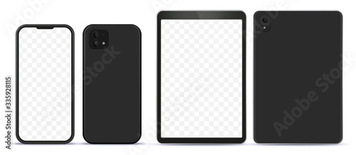 Tela Black Mobile Phone and Tablet Computer Mock-Up With Front and Back Side View