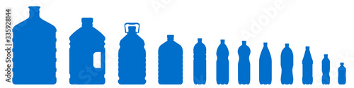 Fotografering Set of plastic bottle icons isolated on white background