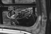 Steering Wheel Of Abandoned Tr...