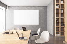 Minimalistic Conference Room Interior With Blank Banner O