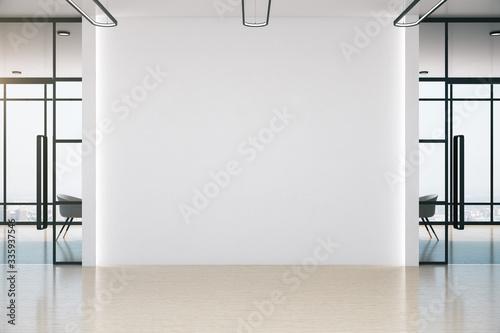Conference office room with blank white wall Obraz na płótnie