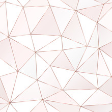 Rose Gold Polygonal Seamless Pattern With Triangle Tiles.